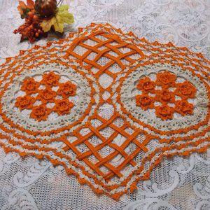 Handmade Crocheted Fall Doily - Orange/Beige